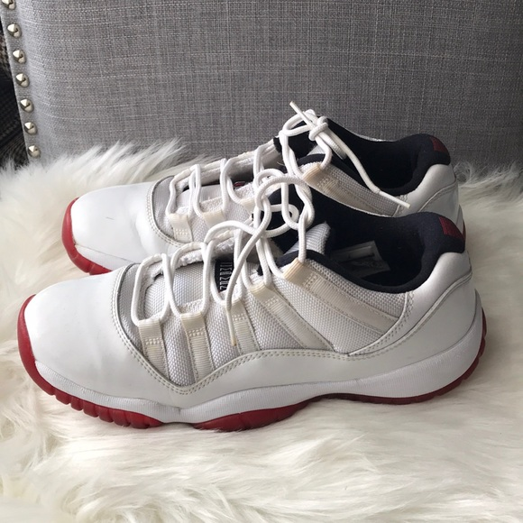 Jordan 11 low tops white red youth size 7 shoes